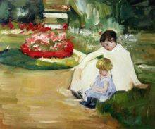 Woman and Child Seated in a Garden