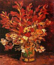 Vase with Gladioli and Carnations (red)