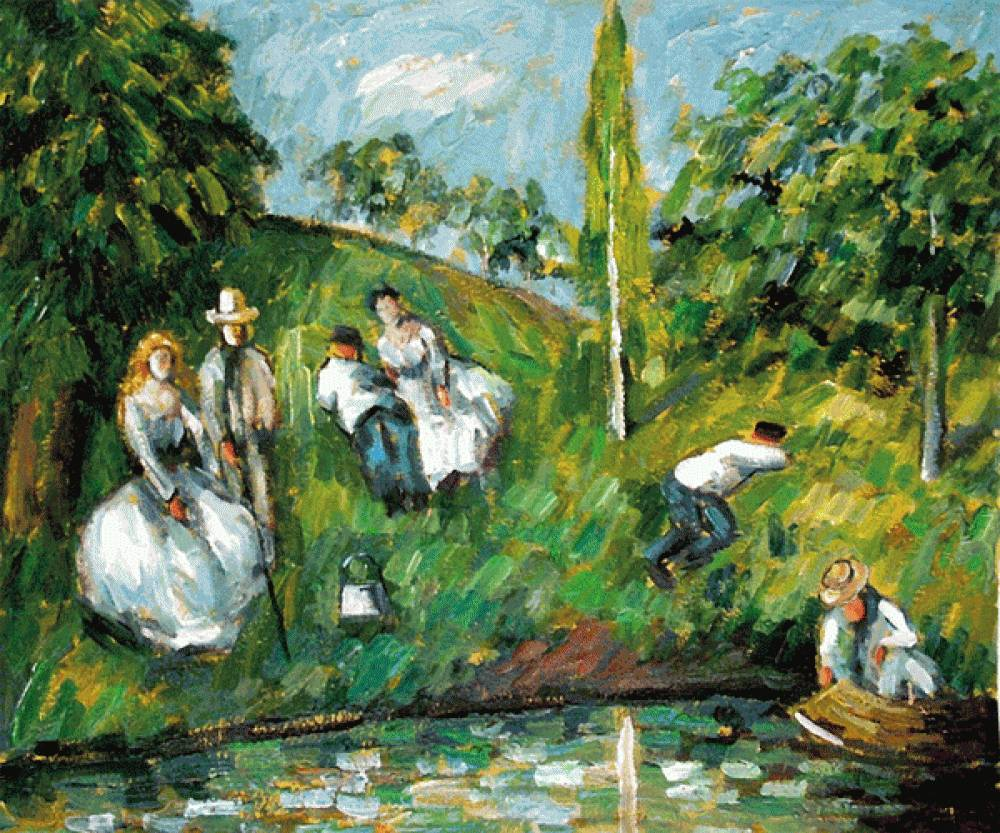 Couples Relaxing by a Pond
