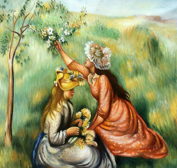 Has surprised Renoir girl with flowers