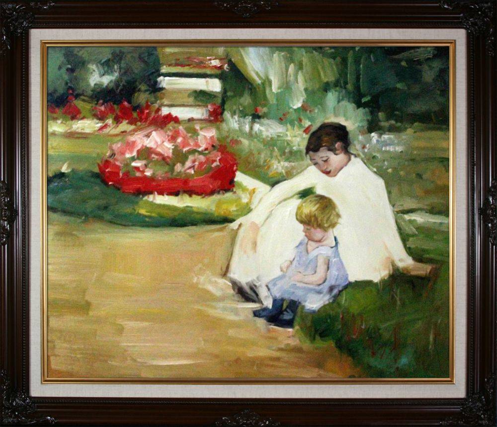 Woman and Child Seated in a Garden Pre-Framed