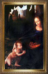 Virgin of the Rocks (Louvre detail with child) Pre-Framed