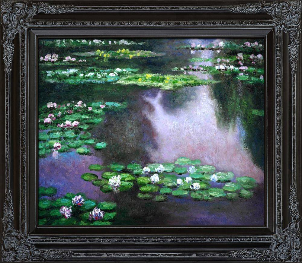 Water Lilies (green and violet) Pre-Framed