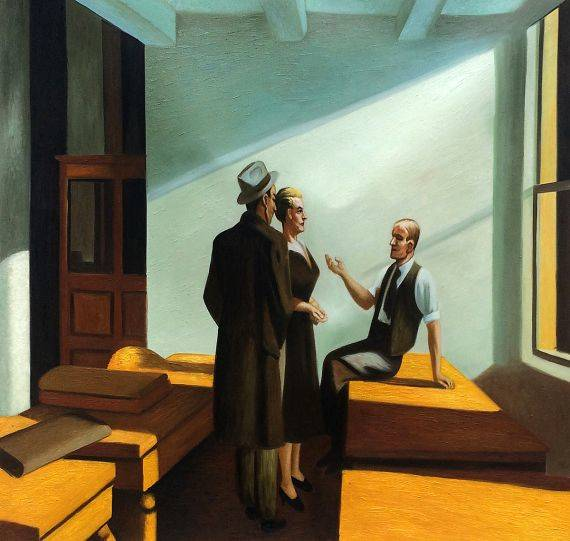 wall art edward hopper conference at night oil painting reproduction. Black Bedroom Furniture Sets. Home Design Ideas