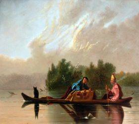 Fur Traders Descending the Missouri, 1845
