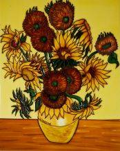 Vase with Fifteen Sunflowers Wall Tile