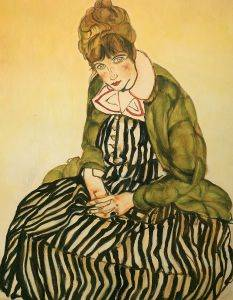 Portrait of Edith Schiele Seated with Striped Dress, 1915