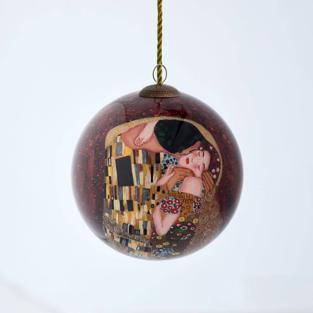 The Kiss Hand Painted Glass Ornament