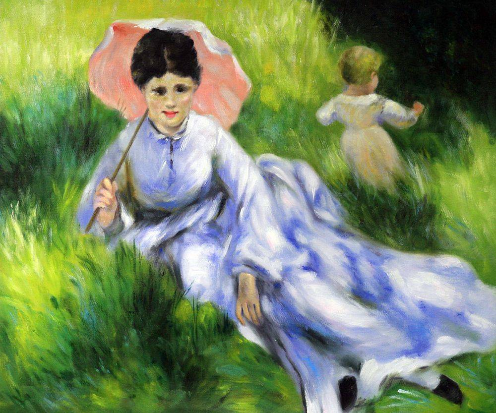 Woman with a Parasol and a Small Child on a Sunlit Hillside