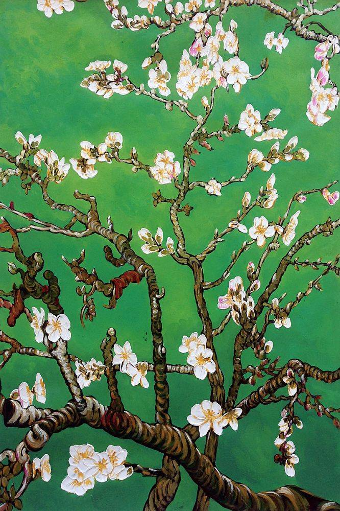 Branches of an Almond Tree in Blossom, Emerald Green