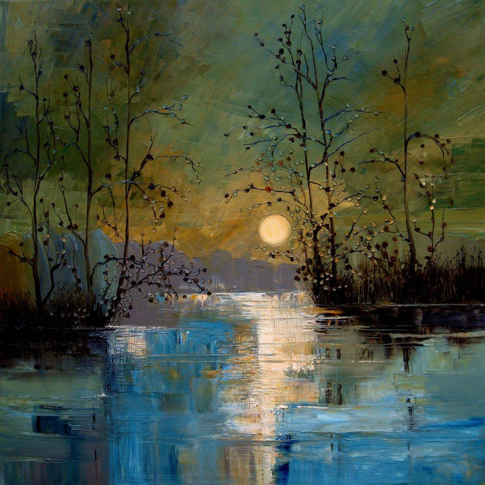 River, with Glowing Moon