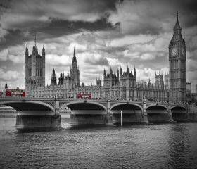 London Houses of Parliament and Red Buses