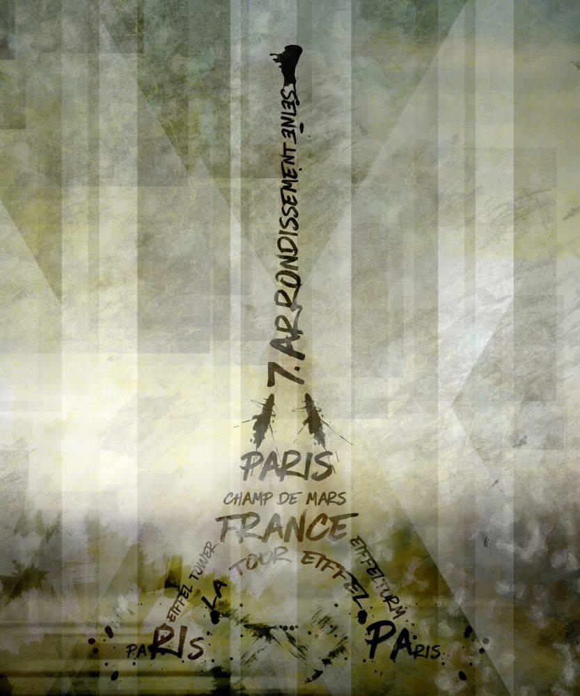 Digital Art, Paris Eiffel Tower Geometric Mix No 1