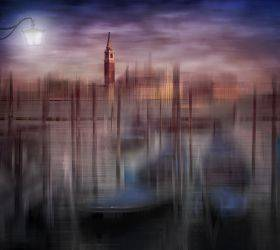 City Art, Venice Gondolas at Sunset
