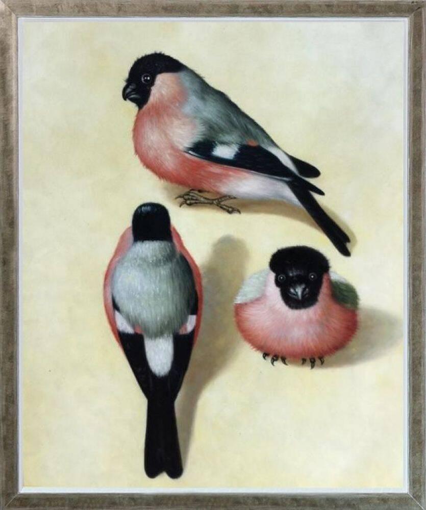 Three Bullfinches Pre-Framed