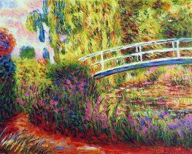 The Japanese Bridge, (The Water-Lily Pond, Water Irises)