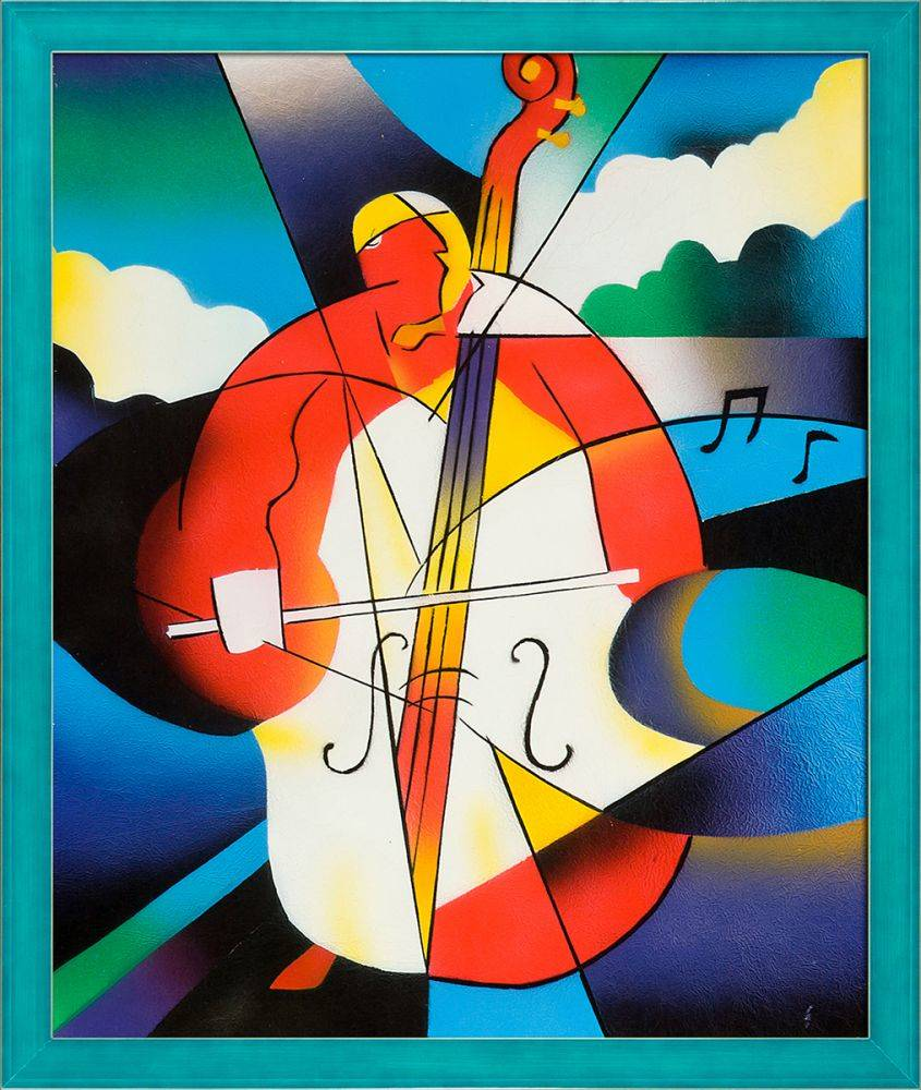 Abstract Cellist Pre Framed