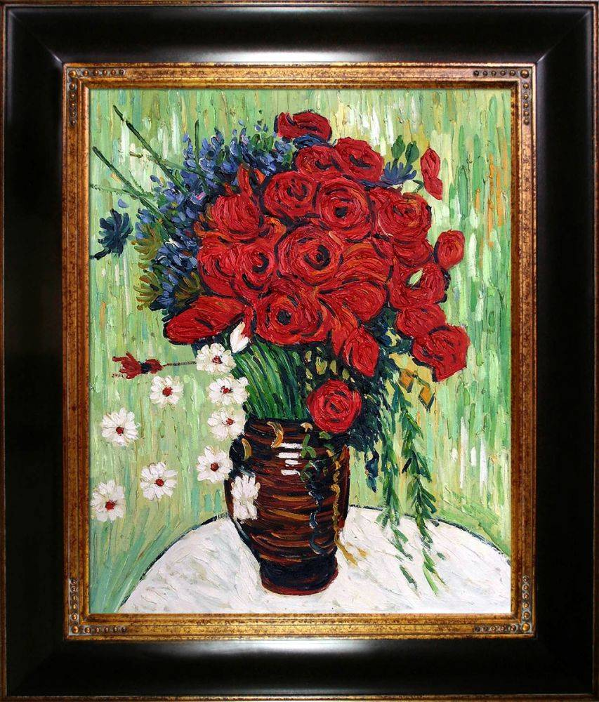 Vase with Daisies and Poppies Pre-Framed
